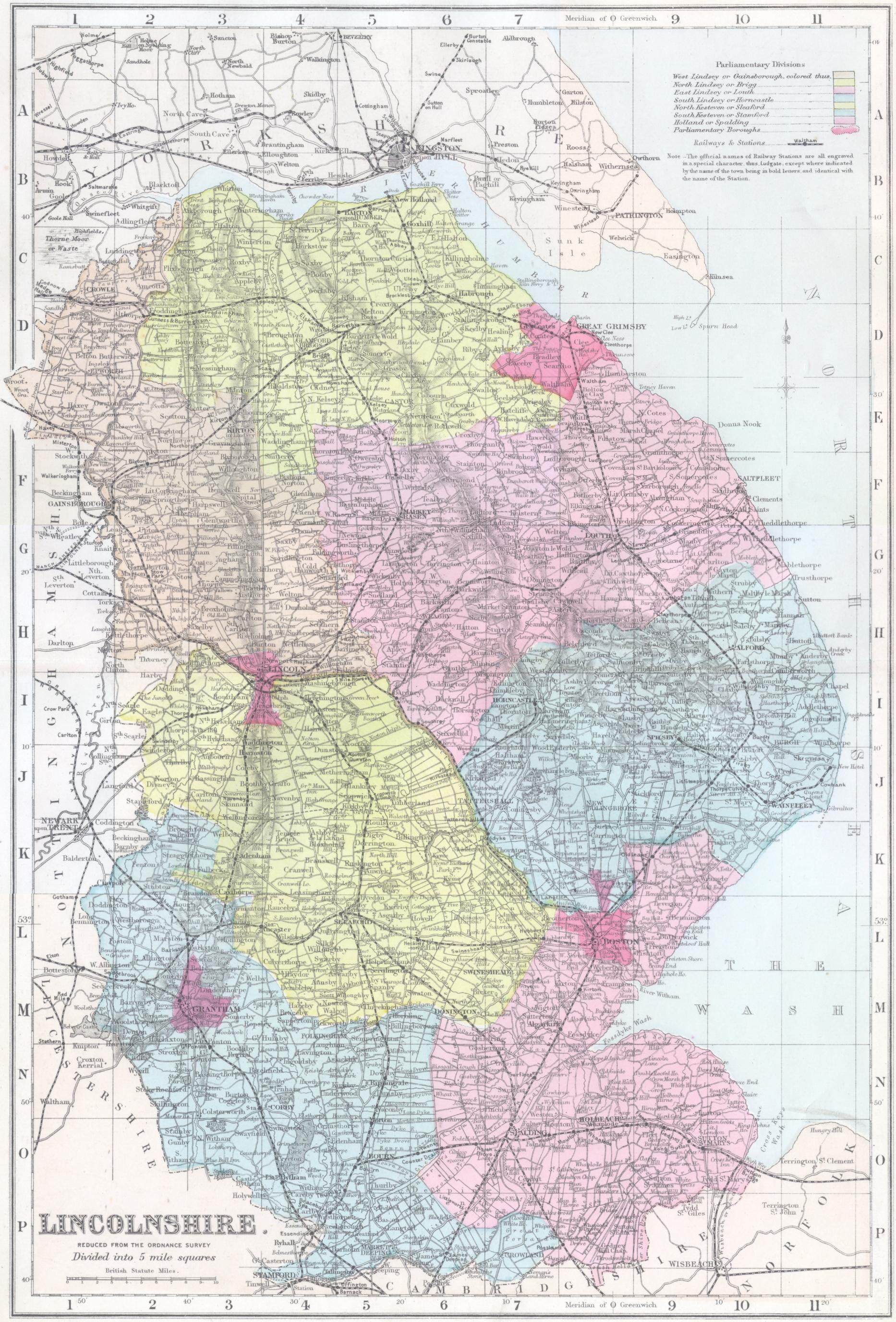 Lincolnshire In The 1880s Map